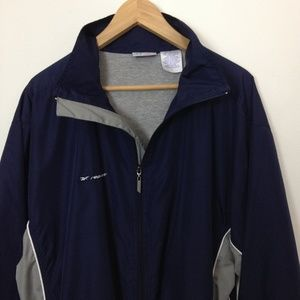 Reebok Full Zip Windbreaker Men Large Blue Jacket